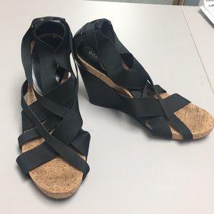 BCBG cork wedge sandal